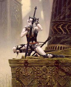 Elric of Melnibone by Michael Whelan Dark Fantasy, Fantasy Sword, Medieval Fantasy, Sci Fi Fantasy, Fantasy Men, Fantasy Heroes, Fantasy Characters, Fantasy Artwork, Michael Moorcock