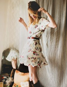 floral dress with cowboy boots