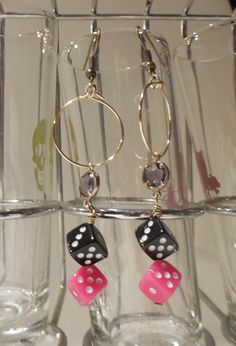 Pink and Black Dice Dangle Earrings by risas11722 on Etsy, $10.00
