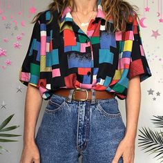 Retro Outfits, Cute Casual Outfits, Vintage Outfits, Vintage Shirts, Vintage Clothing, 80s Fashion, Look Fashion, Fashion Outfits, Aesthetic Fashion