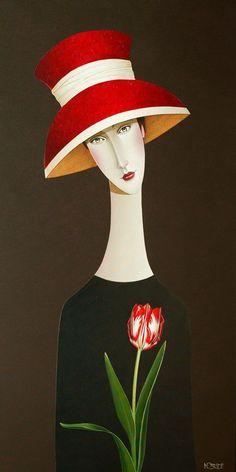 """ Madelyn and the Tulip "", by Danny McBride🌹 Art Journal Inspiration, Painting Inspiration, Danny Mcbride, Naive Art, Fabric Painting, Portrait Art, Figurative Art, Female Art, Unique Art"
