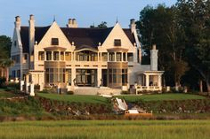 """Featured on the ABC Soap """"Revenge"""" for exterior shots, this home uses Pine Hall Brick's Chesapeake Pearl brick."""