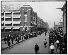 On October 7, 1913, Henry Ford's entire Highland Park automobile factory is run on a continuously moving assembly line for the first time.