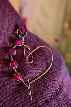 shawl pin copper and agata