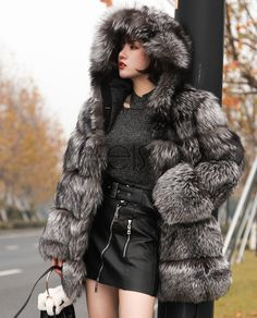 Silver Fox fur coat with fixed hood. Made of SAGA Fox fur from Finland. Absolutely soft, dense and shining fur. Chinchilla, Fox Fur Coat, Fur Coats, Fur Fashion, Womens Fashion, Hooded Winter Coat, Asian Woman, Style Guides, Clothes For Women