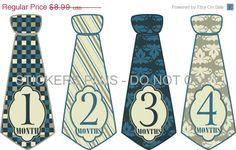Baby Boy Monthly Onesie Stickers Necktie Neck Tie Fancy Blues and Cream - UNCUT 1 - 12 Months Plus Just Born - Gift. $7.91, via Etsy.
