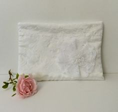 Large White zipped clutch, wristlet bag, lace, Wedding, special occasion  £25.00