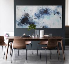 original abstract seascape painting blue white grey contemporary modern decor wall art 'afternoon sea' Elena