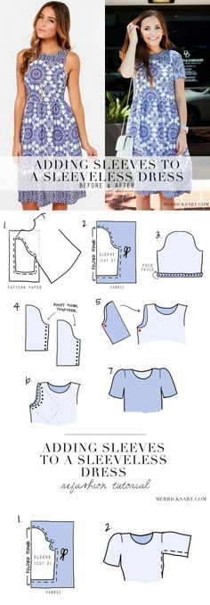 Merrick's Art // Style + Sewing for the Everyday Girl: DIY FRIDAY: ADDING SLEEVES TO A SLEEVELESS DRESS (REFASHION TUTORIAL) by amandawest