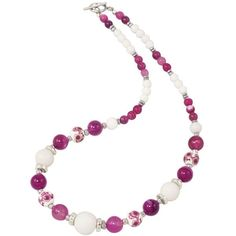 Raspberry Delight White Mountain Jade and Fuchsia Agate Floral Beaded... ($54) ❤ liked on Polyvore featuring jewelry, necklaces, beading jewelry, fuchsia necklace, agate necklace, jade jewellery and floral jewelry