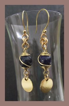 Long lapis Lazuli and solid brass earrings by abyjem on Etsy, £15.00