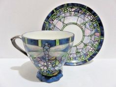 Glittering Dragonflies Cup and Saucer Era of Louis Tiffany Bradford Editions
