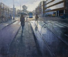 Rainy day at Marnixstraat Amsterdam | oil on linen painting by Richard van Mensvoort
