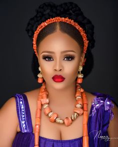 This Igbo Bridal Beauty Inspo will Leave You Wanting Bridal Beauty, Bridal Makeup, Bridal Hair, Traditional Wedding Attire, African Traditional Wedding, Best Wedding Makeup, Wedding Makeup Artist, African Girl, African Beauty