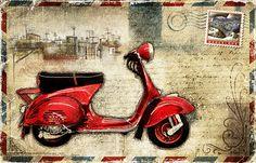 JF_0074_GR1 Cuadro Vespa Roja _ Postal Barcelona Vintage
