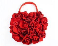 Red Purse Felted Bag Red Bag LITTLE ROSES BAG Felt Nunofelt Nuno felt Silk red ruby burgundy handmade fairy floral fantasy Fiber Art boho by filcant on Etsy Nuno Felting, Needle Felting, Red Purses, Purses And Bags, Flower Bag, Red Bags, Handmade Bags, Fashion Accessories, Just For You