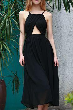 Lace-Up Backless Chiffon Dress