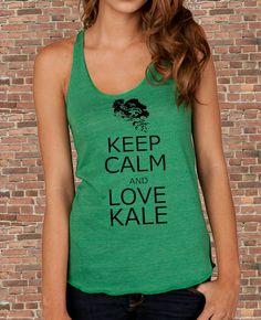 Keep Calm and LOVE KALE carry on parody Womens silkscreen TAnk Top t shirt tee screenprint