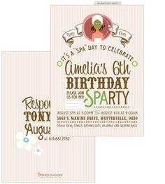 spa birthday parties invite