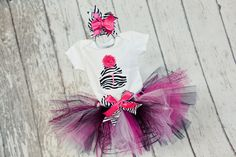 Baby Girl's First Birthday Outfit Sewn Tulle Tutu Set with White Shirt and Zebra Print Fabric Cake w/ Number & Headband - 9 month-4T. $48.00, via Etsy.