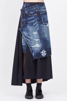 Totokaelo - Junya Watanabe Denim/ Black Mixed Media Wrap Skirt