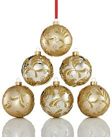 Holiday Lane Set of 6 Gold Shatterproof Ornaments, Only at Macy's