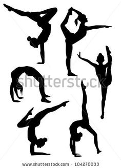 Gymnastics Cartoon Clip Art Free | Vector Download » Vector illustration of a girls gymnasts silhouettes ...