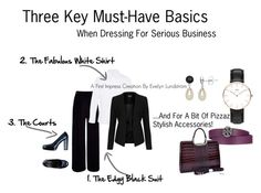 3 Key Must-Haves For Business Dressing by firstimpress on Polyvore featuring Mode, M&S, Topshop, River Island, Tosca Blu, Dasein, Daniel Wellington, Lord & Taylor and Tory Burch