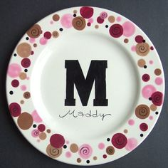 Pottery Plate Paint Ideas   Personalized Initial DOTS Plate Hand Painted by CottageJoy,