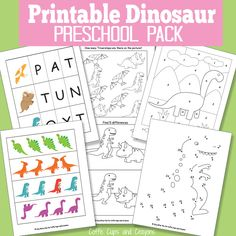There's lots of simple learning to be had with this printable dinosaur pack for preschool (and kids in kindergarten)!