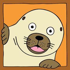 kinderschilderij zeehond. Vrolijk en kleurig schilderij op canvas gedrukt. Leuk voor in de kinderkamer of babykamer, maar ook als kraamcadeau. Decoupage, Seal, Snoopy, Bullet Journal, Crafty, Rock, My Favorite Things, Canvas, Prints