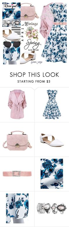 """Rosegal-_Vintage Dress"" by goreti ❤ liked on Polyvore featuring vintage, rosegal and Spring2017"