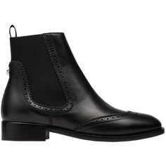 Balenciaga Brogues Chelsea Boots ($419) ❤ liked on Polyvore featuring shoes, boots, ankle booties, shoes - boots, black, botas, black booties, chelsea bootie, black ankle bootie and short boots