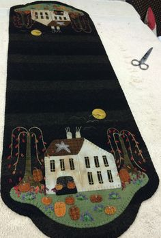 Pumpkin Farm Table Mat ~ new from Lisa Bongean of Primitive Gatherings