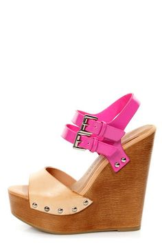 9be1f4677f25 Chinese Laundry Jungle Gym Natural and Fuchsia Platform Wedges On Shoes