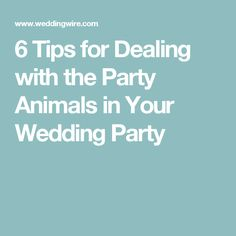 6 Tips for Dealing with the Party Animals in Your Wedding Party