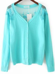 Turquoise V Neck Lace Buttons Cardigan 23.00