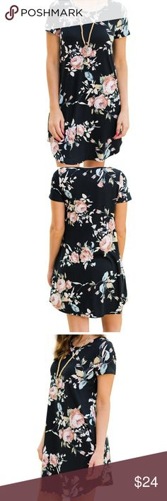 Floral tee shirt dress Womens size small Black t-shirt dress with floral details New with tags Would be very cute with leggings come fall Most offers will be considered Dresses