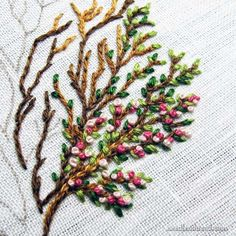 Hand Embroidered Blooming Tree with French Knot blossoms