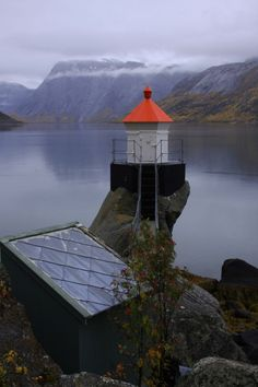 Small Lighthouse in Skjomen, Narvik, Nordland, Norway