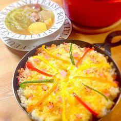 亜矢子ちゃんのライスピザ‼ チーズのせる前に、ご飯だけたべてもムチャ旨〜  食卓のせて、一口食べたらあっという間になくなっちゃったよー! 亜矢子ちゃんレシピ最強だわぁ〜*。・+(人*´∀`)+・。* - 189件のもぐもぐ - 亜矢子ちゃん♬グリルプレートでライスピザ&ポトフ by misawa