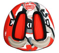 """White Knuckle Twin Tube • Quick connect for easy ski rope connection • Dimensions: 64"""" X 62"""" • Cover: 840 D Nylon  • Bladder: 28 Gauge PVC • Handles: 4 padded with knuckle guards"""