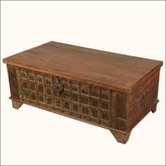 Iron Gate Front Reclaimed Wood Standing Coffee Table Chest