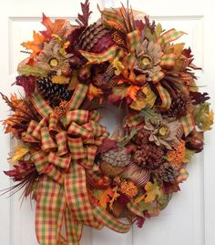 Fall Wreath, Mesh Wreath, Autumn Wreath, Burlap by WilliamsFloral on Etsy