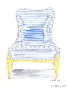 Jeanne McKay Hartmann, Watson Kennedy artist, Chair in Stripped Pajamas