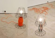 cage light, form of existing lamp, utility of a reel/ shop light Shop Lighting, Lighting Design, Cage Light, Lamp Cord, Gadgets And Gizmos, Showcase Design, Floor Lamp, Home Furnishings, Design Inspiration