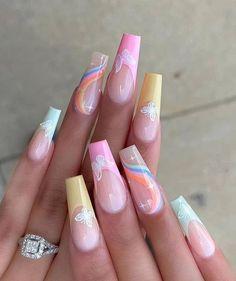 Bling Acrylic Nails, Acrylic Nails Coffin Short, Square Acrylic Nails, Best Acrylic Nails, Acrylic Nail Designs, Acrylics Nails For Summer, Bright Summer Gel Nails, Coffin Nail Designs, Dope Nail Designs