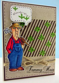 SC0650 Ai His and Hers Gardeners Art Impressions at Michaels' Craft Store!!! Handmade card Howdy-Hoe!