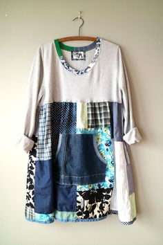 Comfy Funky Patchwork Dress, Large XLarge Upcycled Tunic Dress, Cozy Cotton Loose Fit Dress, Boho Chic Artsy Clothing, Mori Girl Dress
