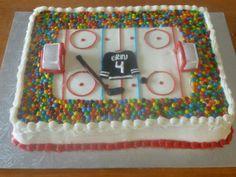 Hockey Cake - 2 w/buttercream and mini M&Ms Hockey Birthday Cake, Hockey Birthday Parties, Hockey Party, 14th Birthday, Birthday Fun, Birthday Cakes, Birthday Ideas, Hockey Cupcakes, Its My Bday